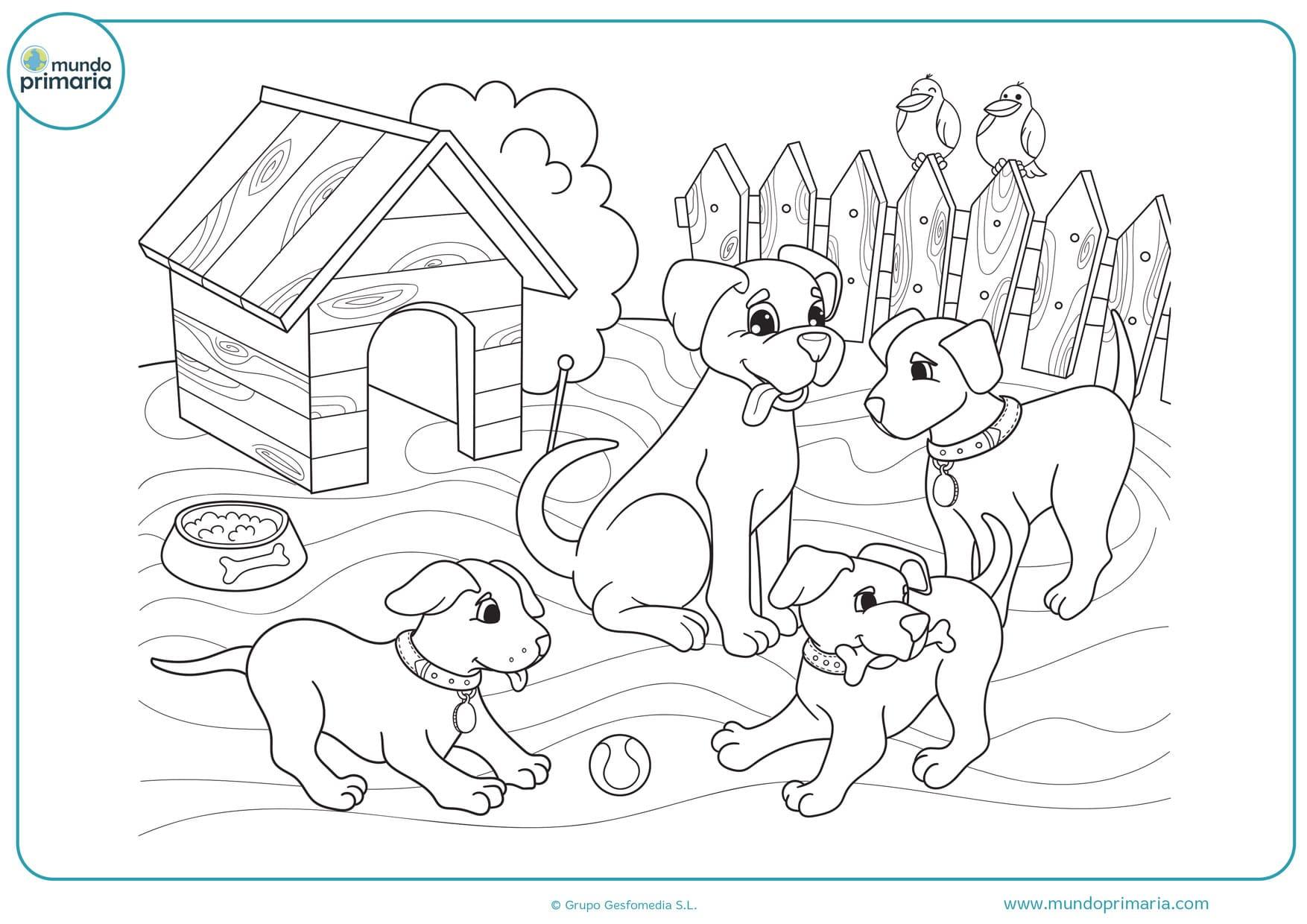 dibujos de perros para colorear lindos