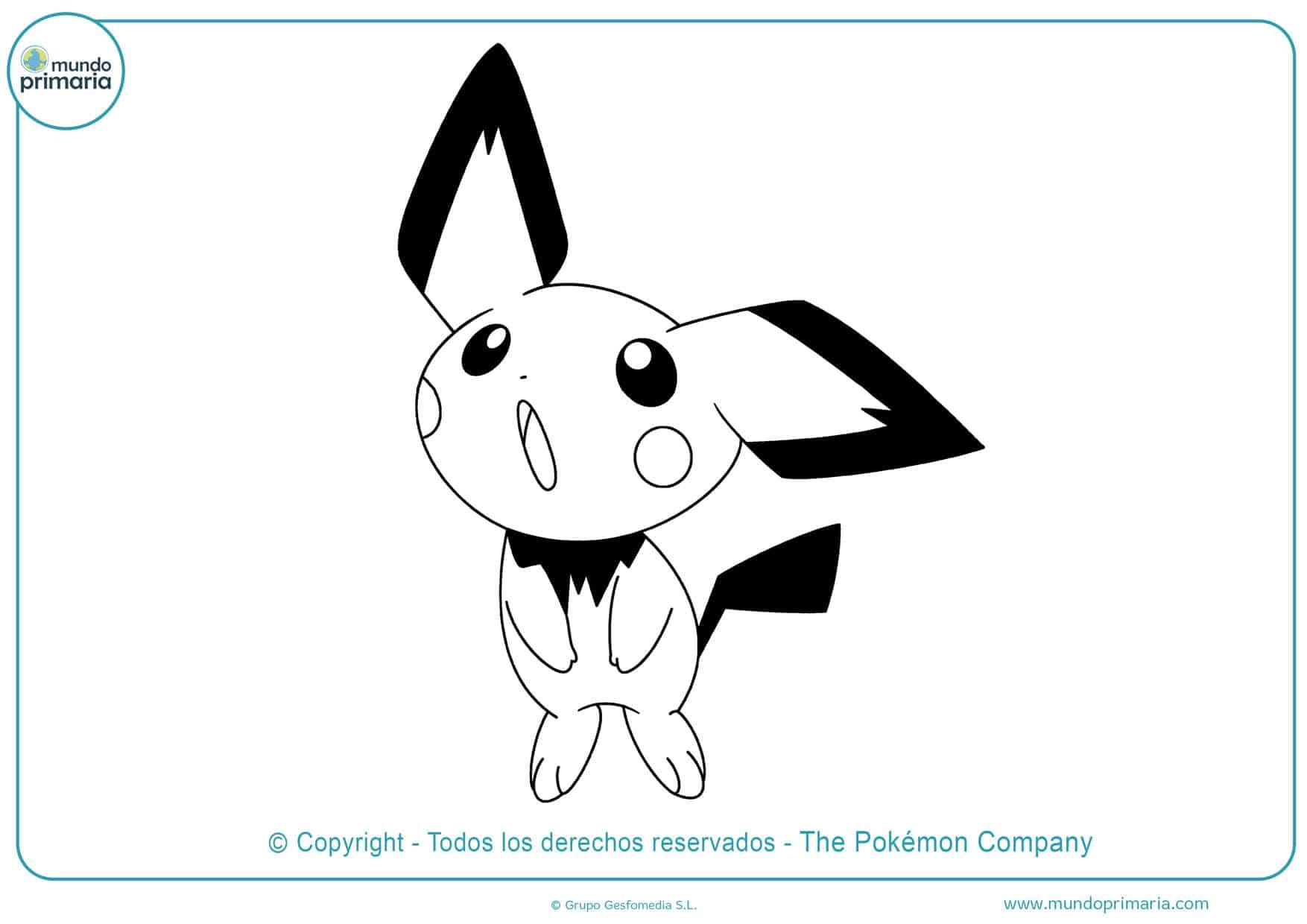 dibujos de pichu pikachu y raichu para colorear