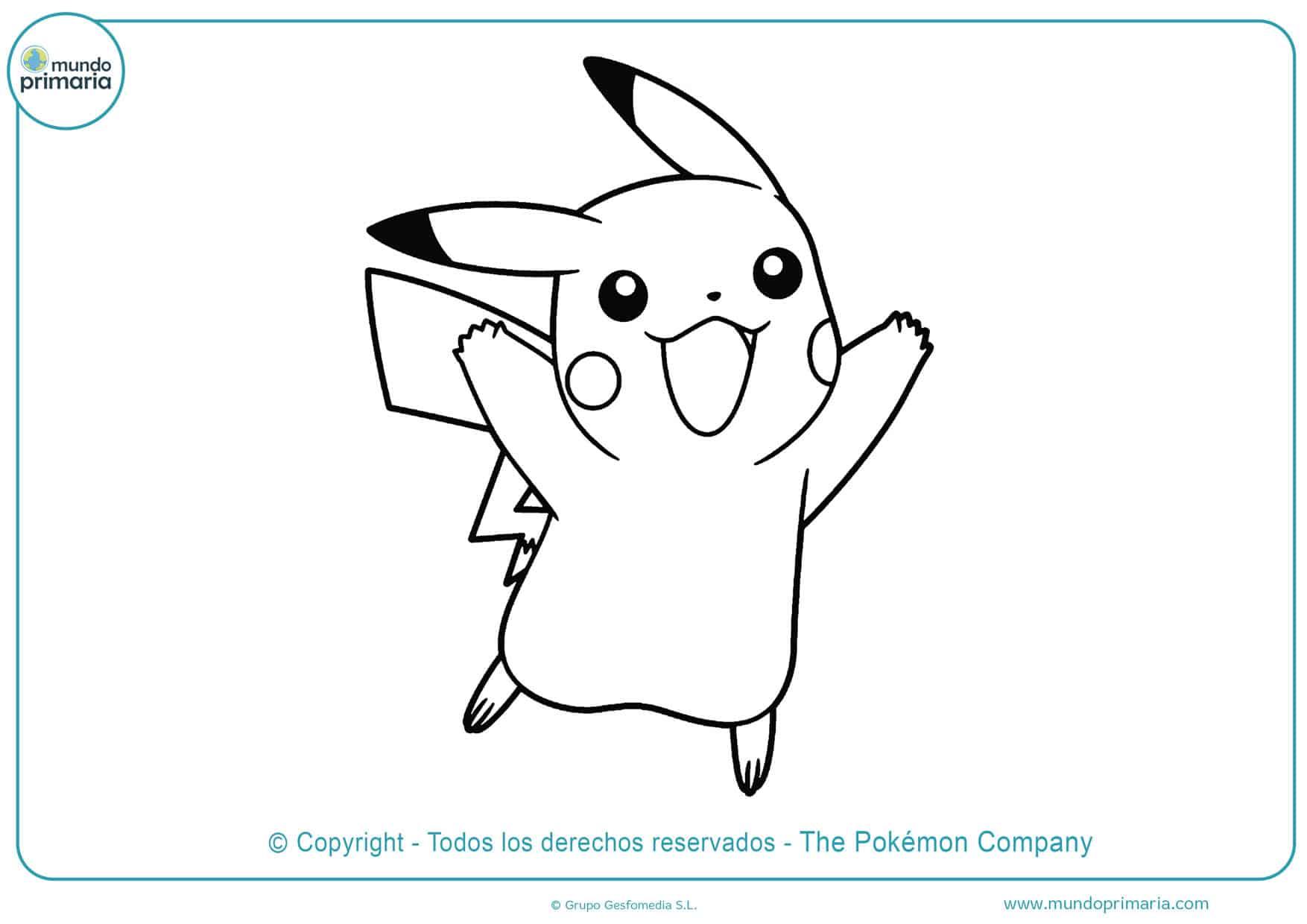 dibujos de pikachu para colorear e imprimir