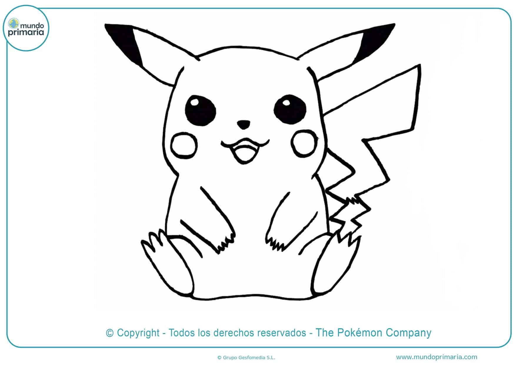 dibujos de pikachu tierno para colorear