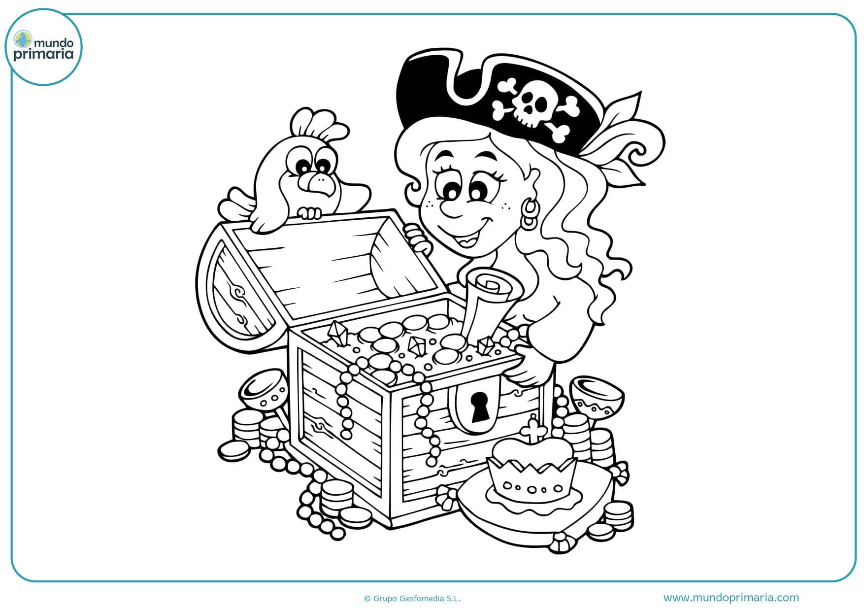 dibujos de piratas chicas para colorear