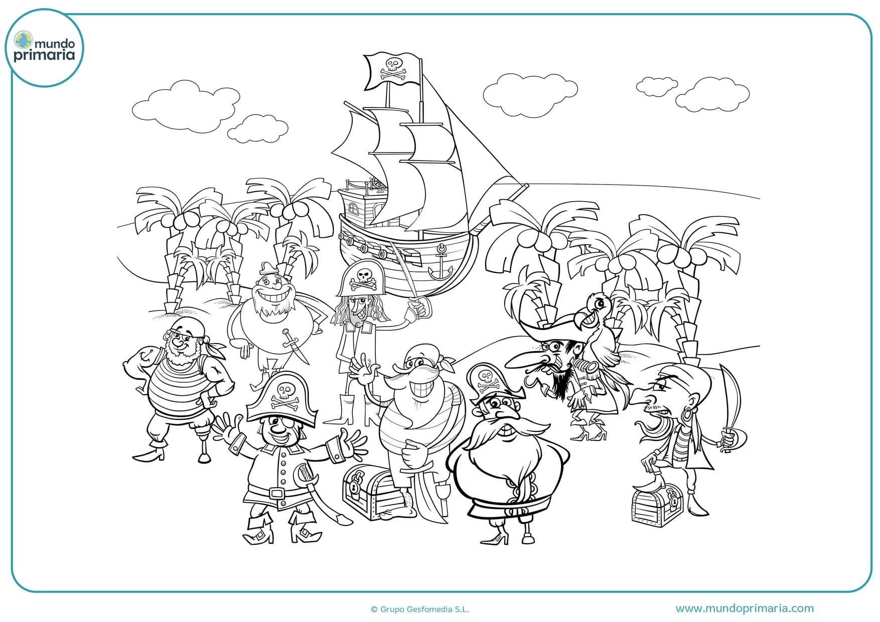 dibujos de piratas infantiles para colorear