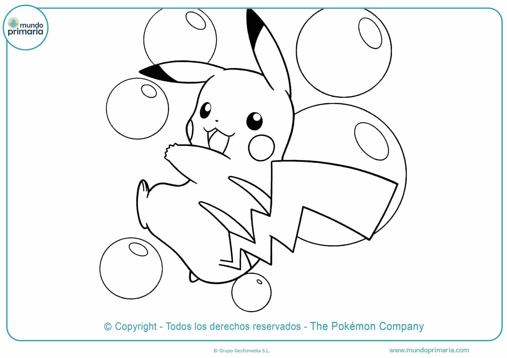 dibujos de pokémon pikachu para colorear