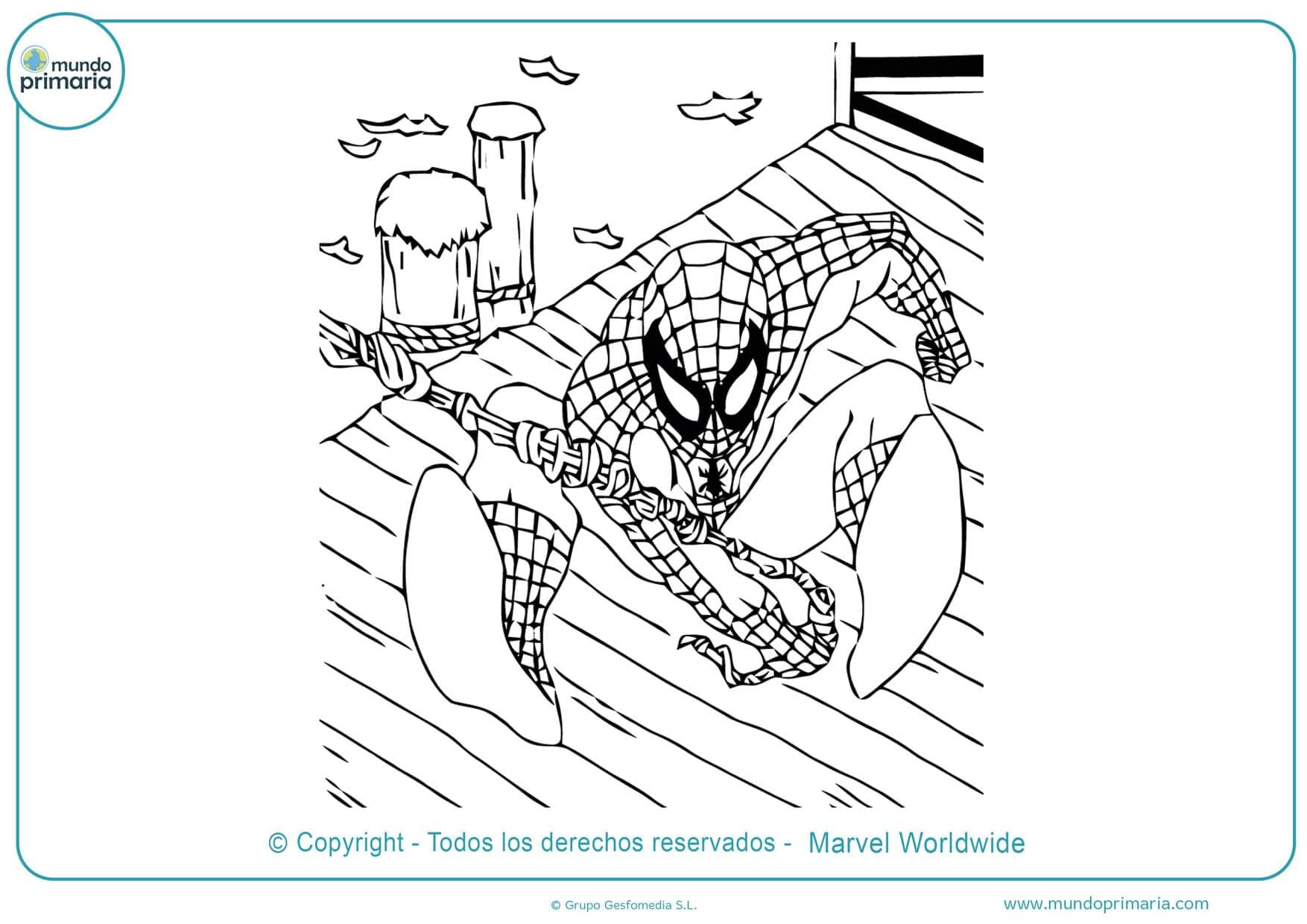 dibujos de spiderman para colorear en linea