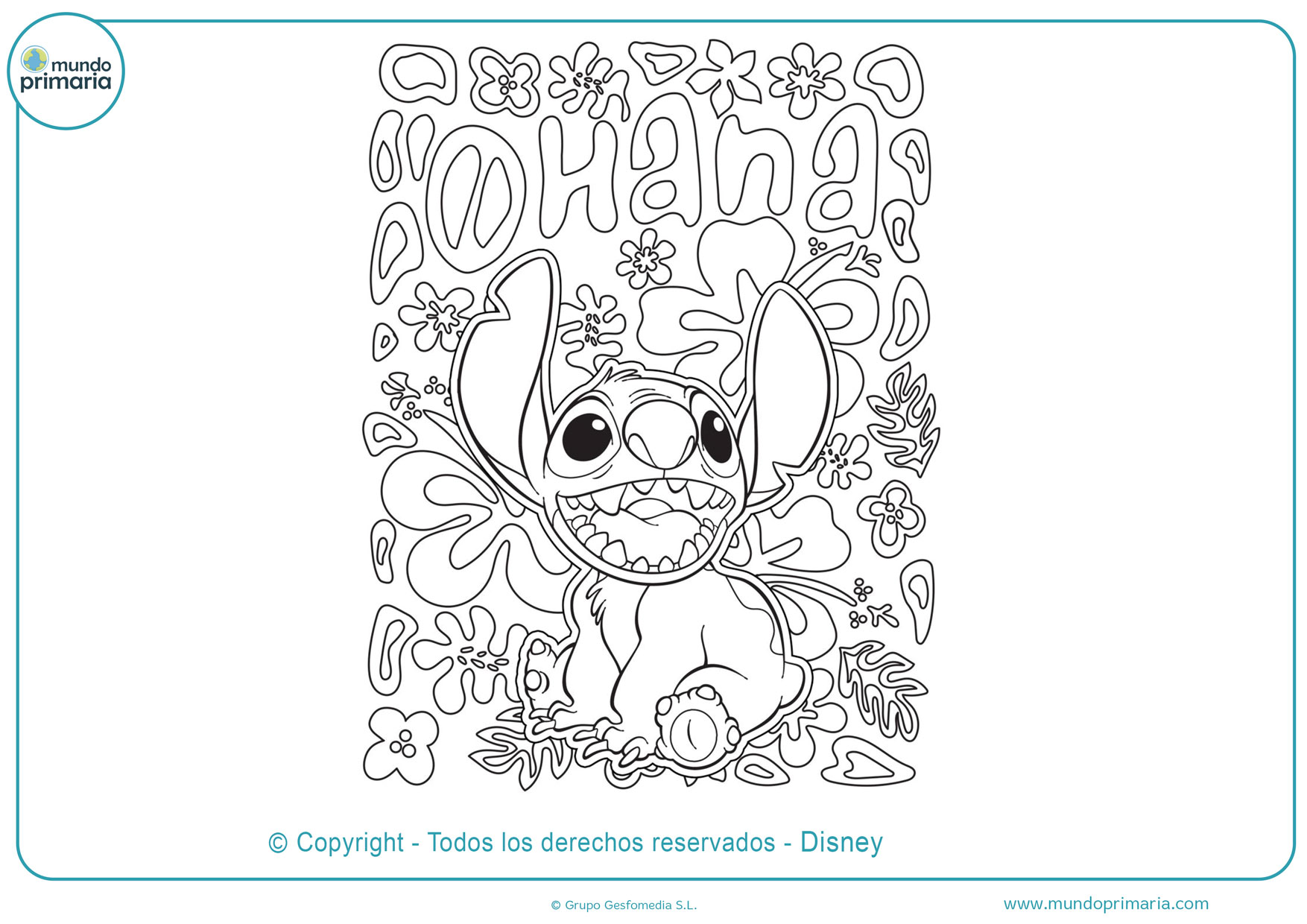 dibujos de stitch tierno para colorear