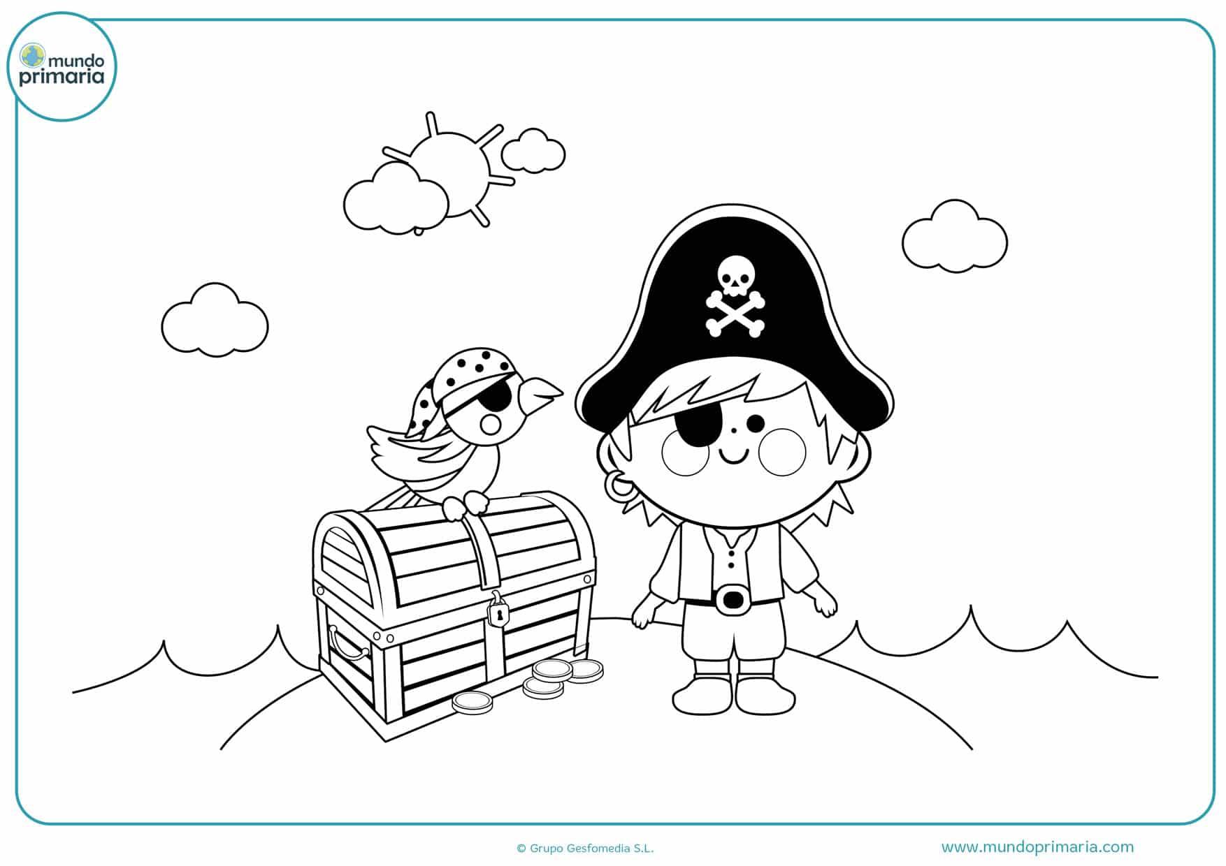 dibujos de tesoro loros y niño pirata para colorear