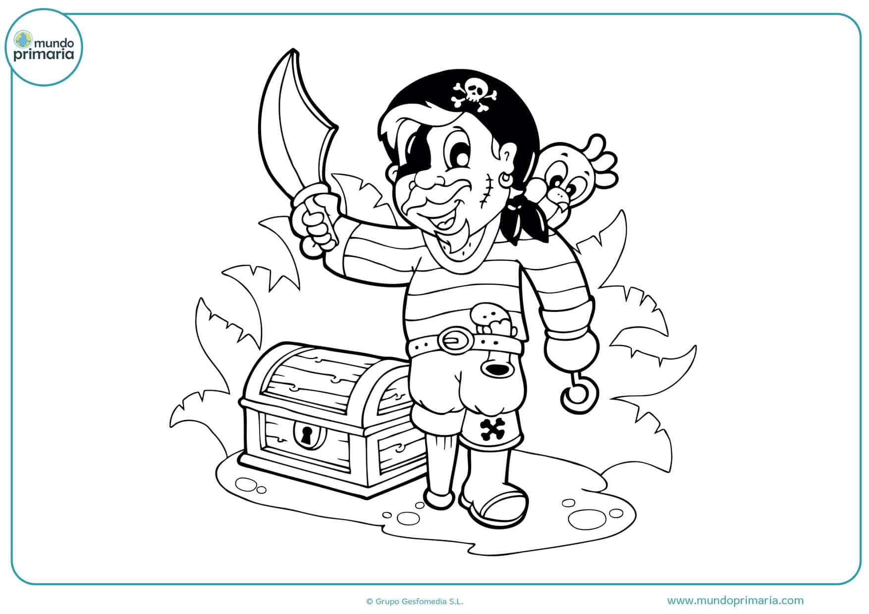 dibujos de tesoros piratas para colorear