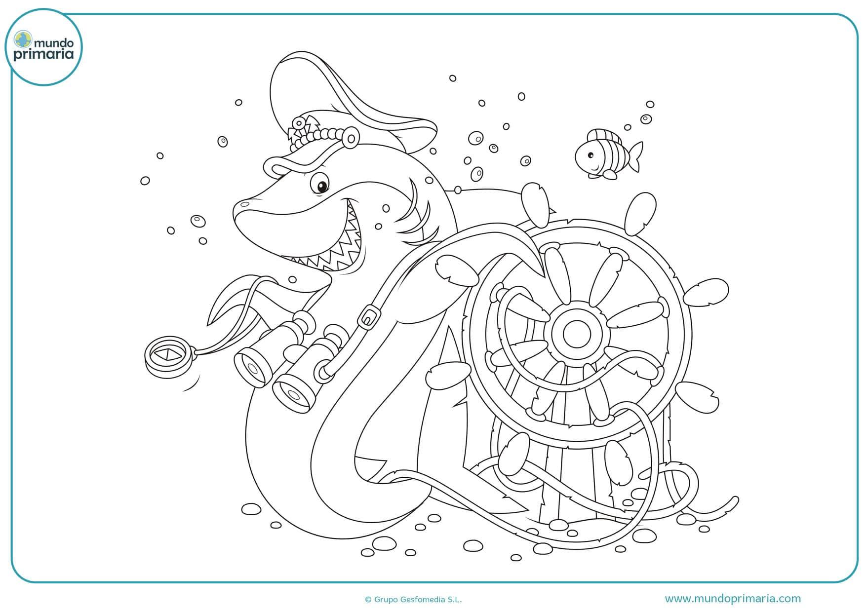 dibujos para colorear de tiburones infantiles