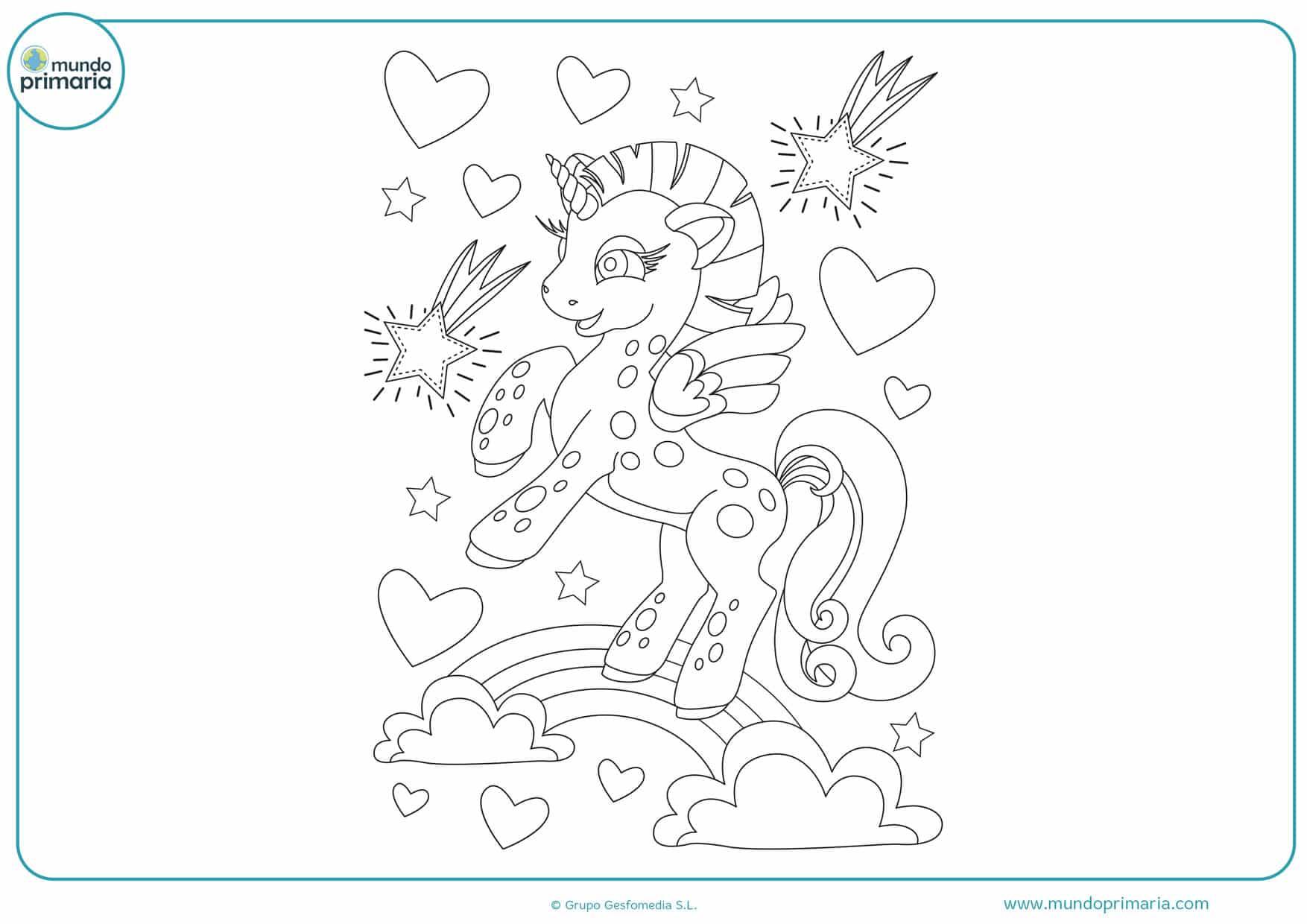 dibujos de unicornios fáciles para colorear