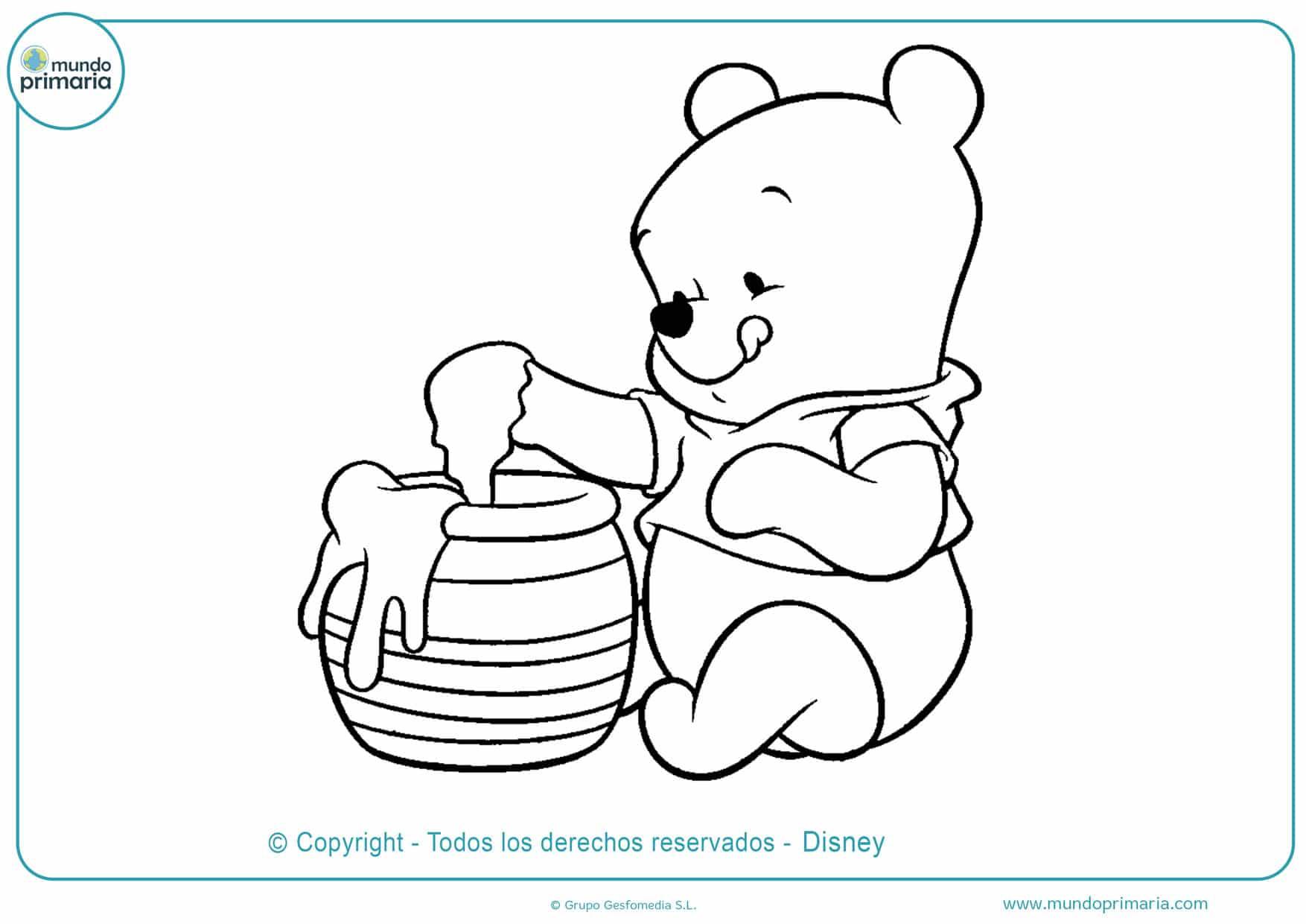 dibujos de winnie pooh comiendo miel para colorear