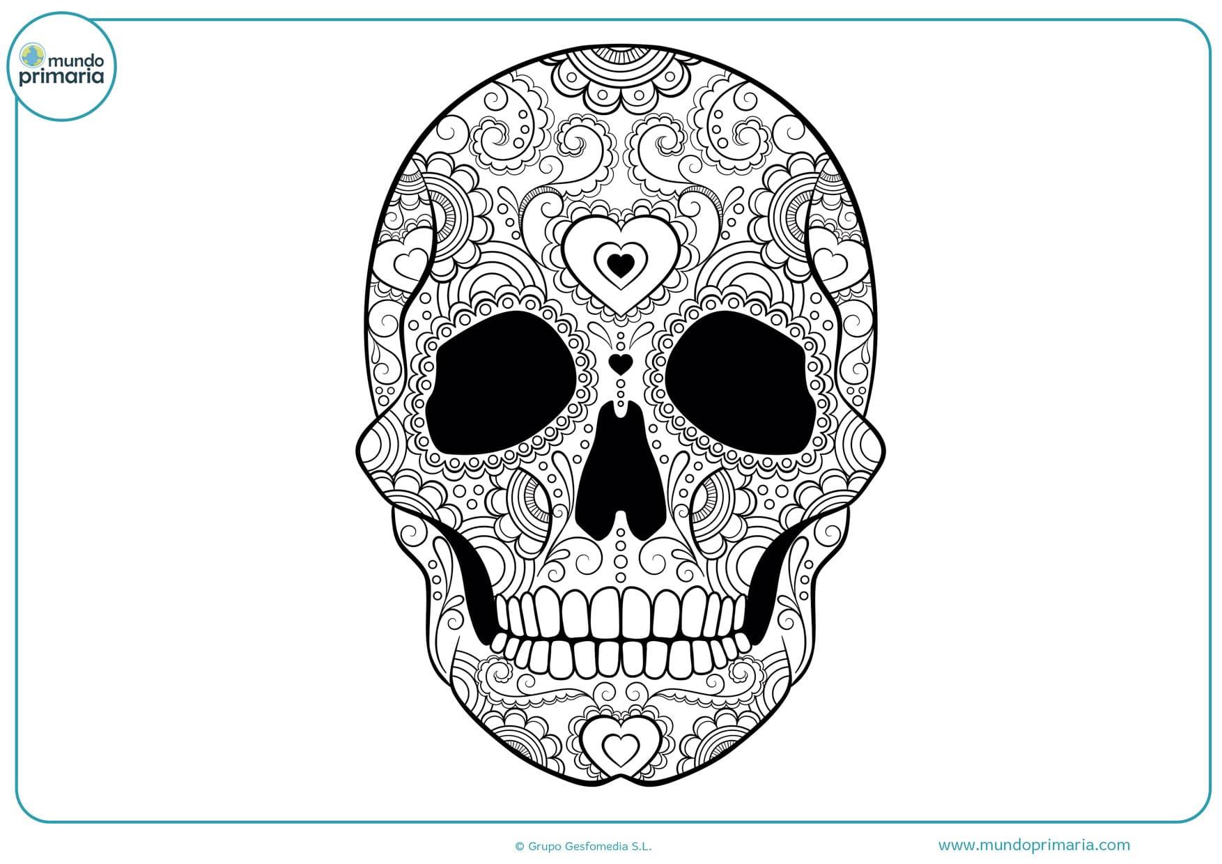 imagen de calavera del día de los muertos para colorear