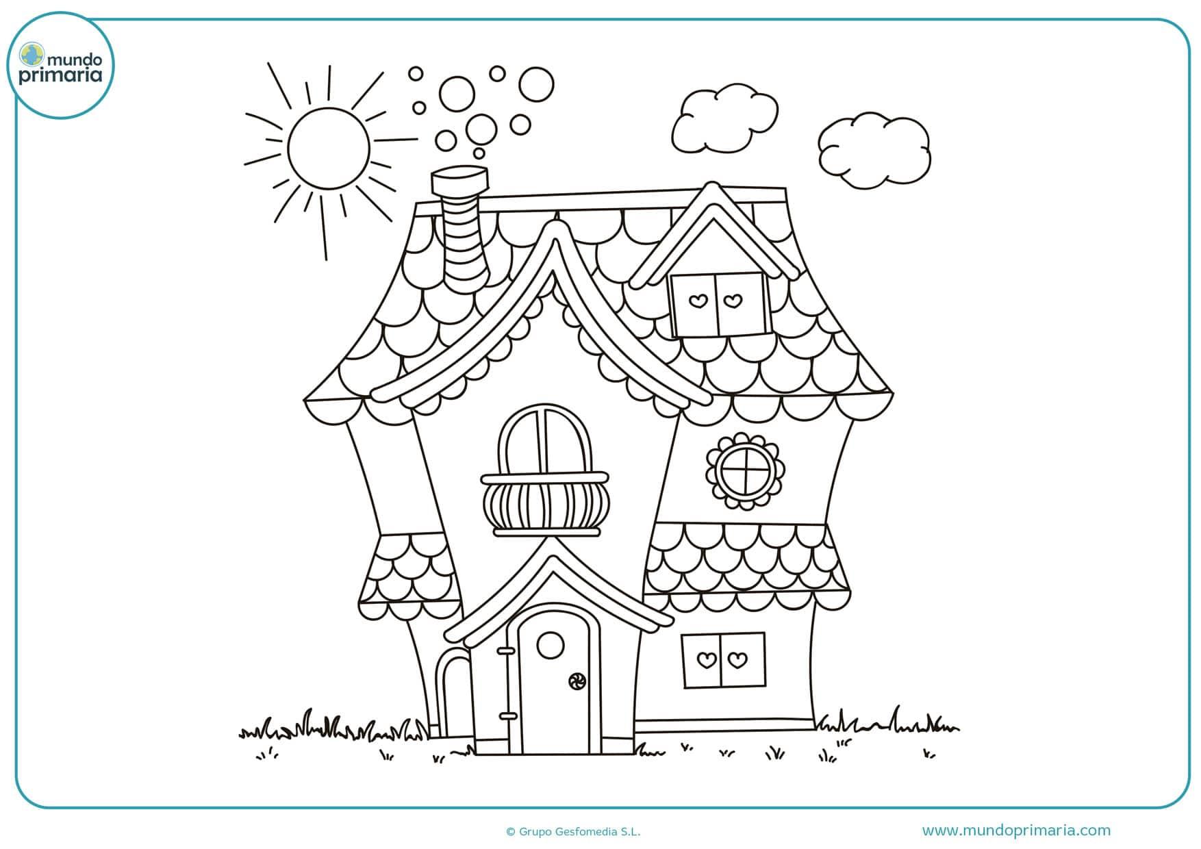 imágenes de dibujos de casas para colorear