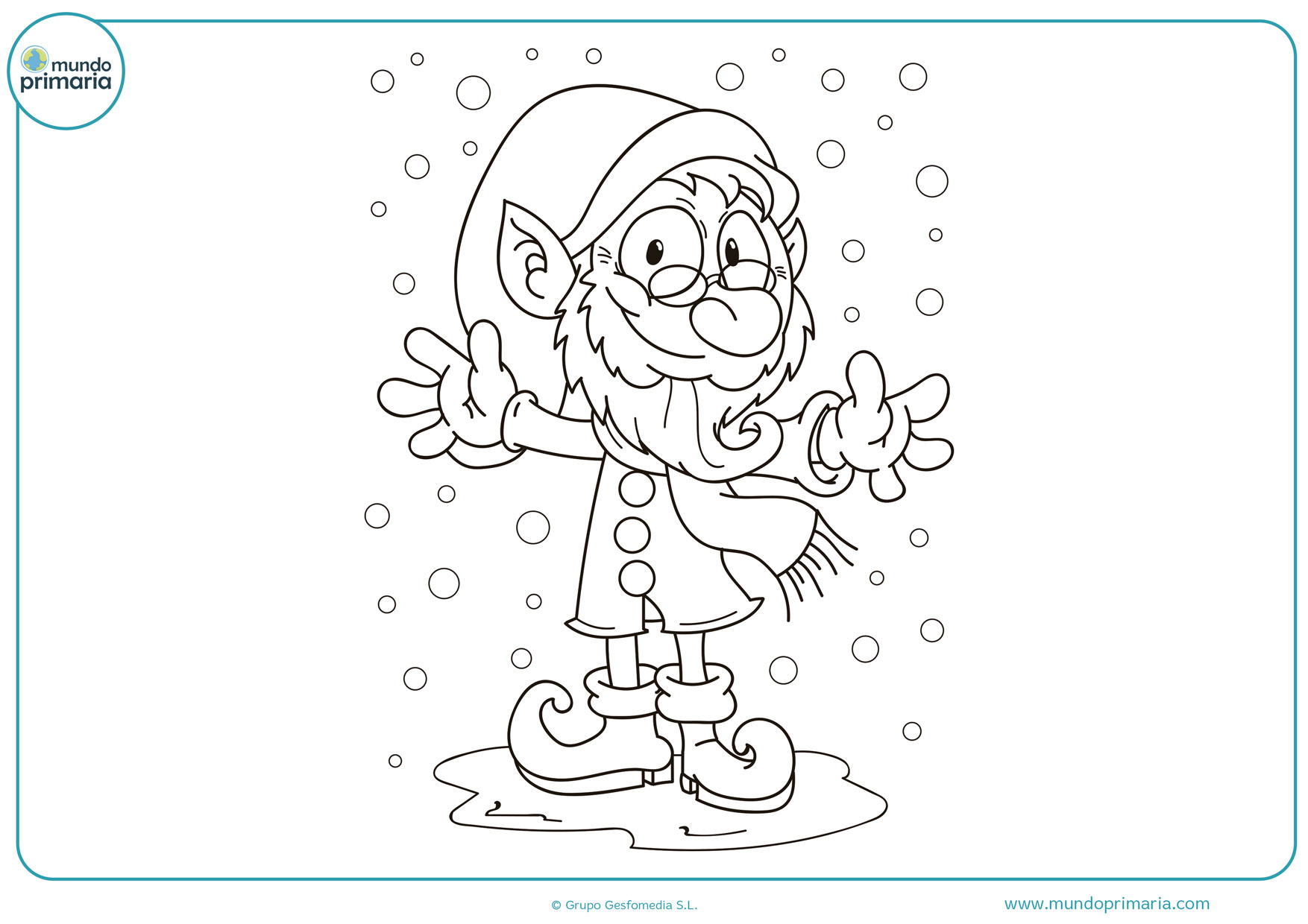 imágenes de duendes navideños para colorear