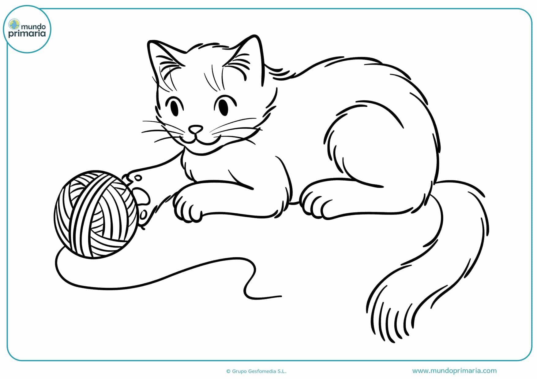 imágenes de gatos jugando con lana para colorear