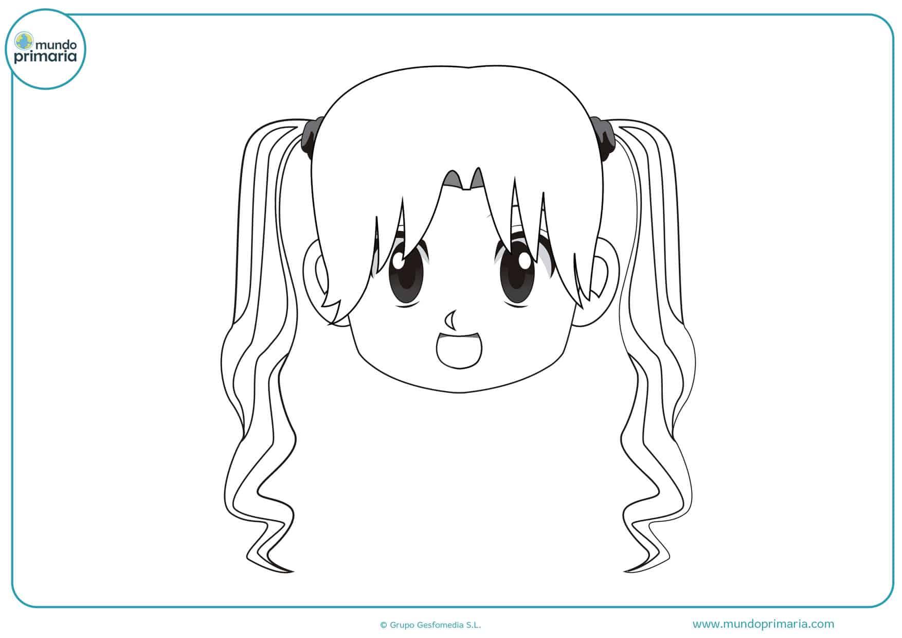 imágenes de muñecas manga para colorear