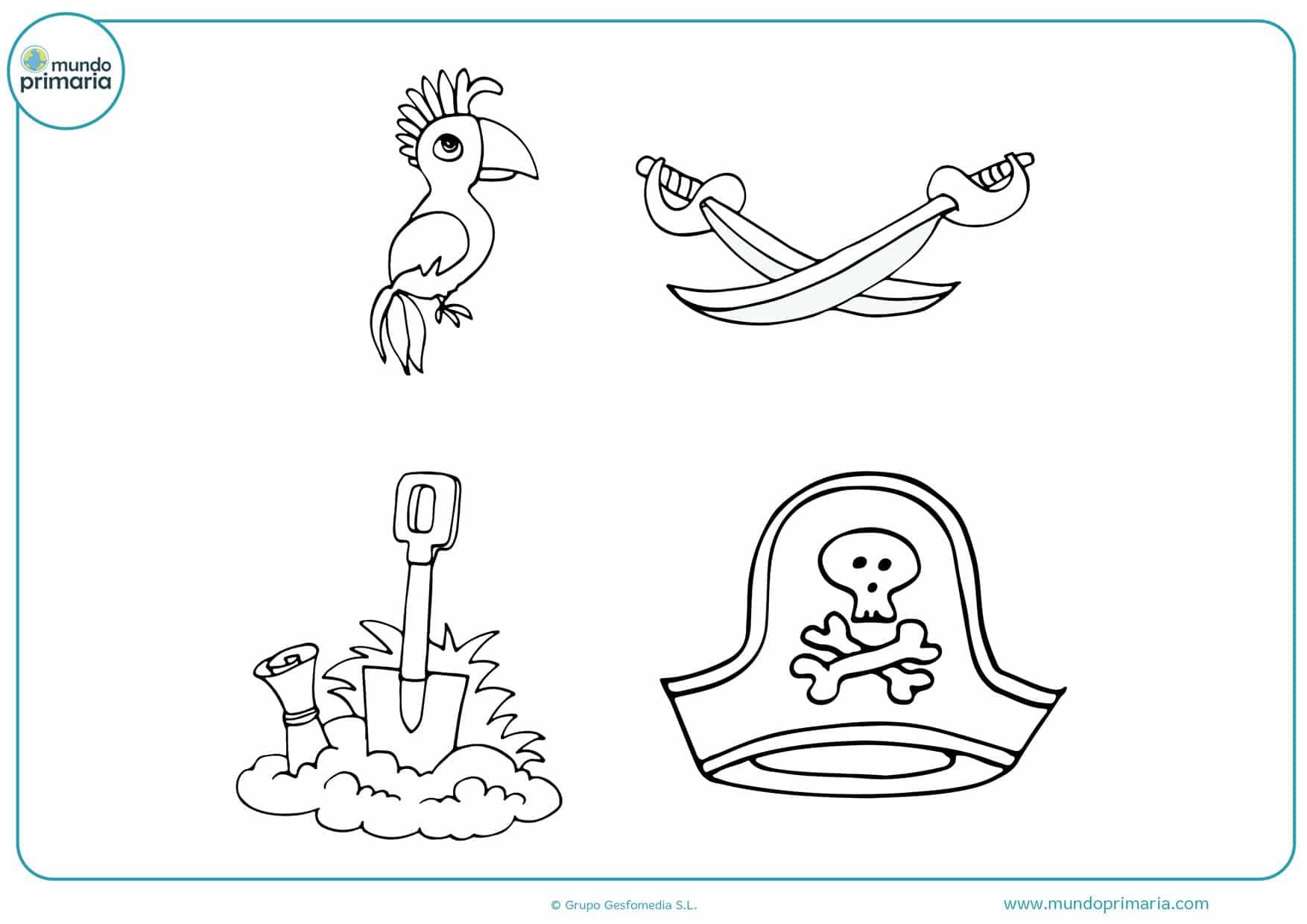 imágenes de tesoros piratas para colorear
