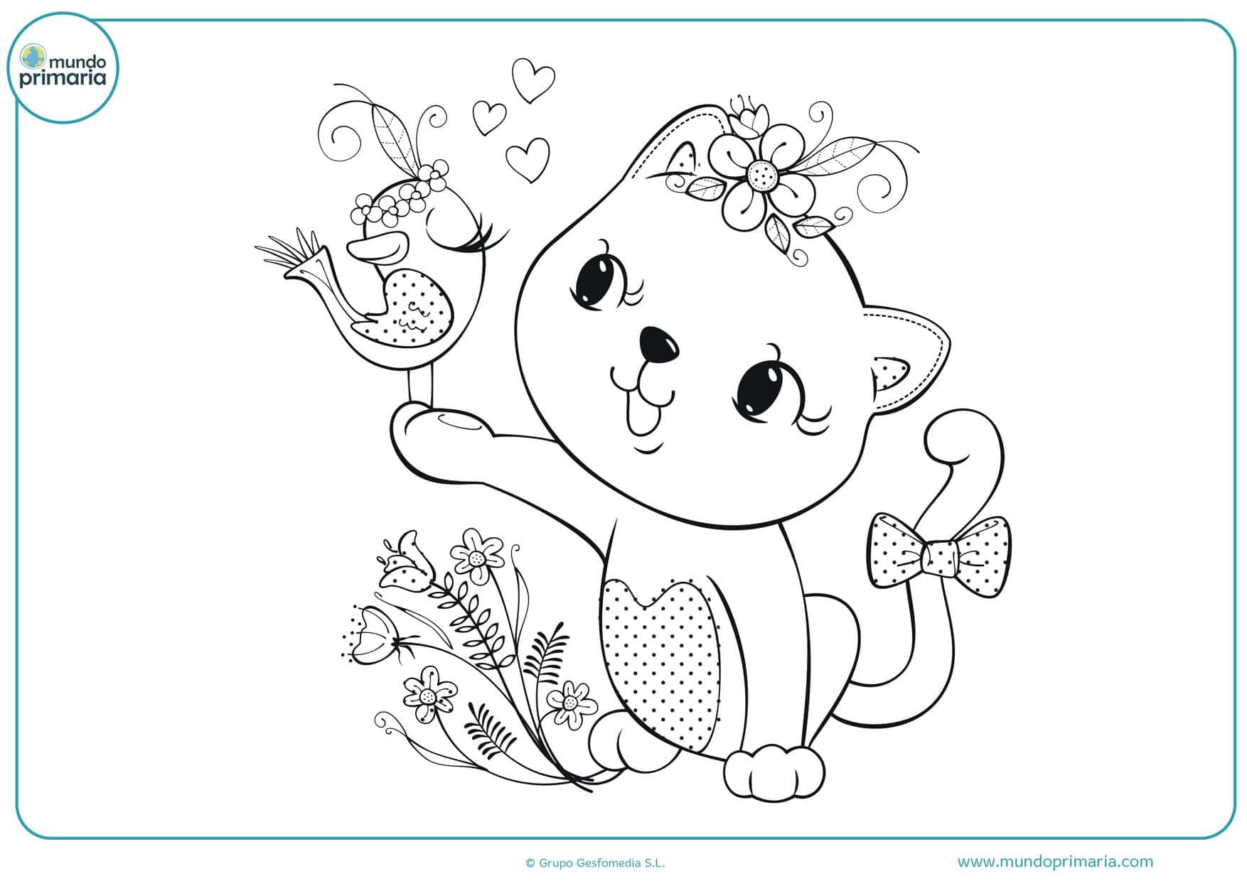 imprimir dibujos de gatos para colorear