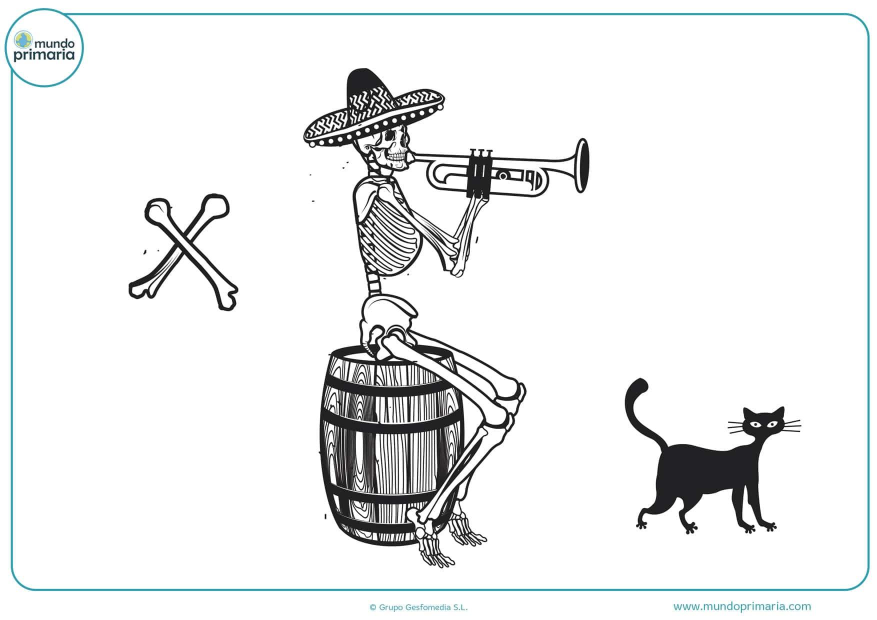 mariachi día de los muertos dibujo