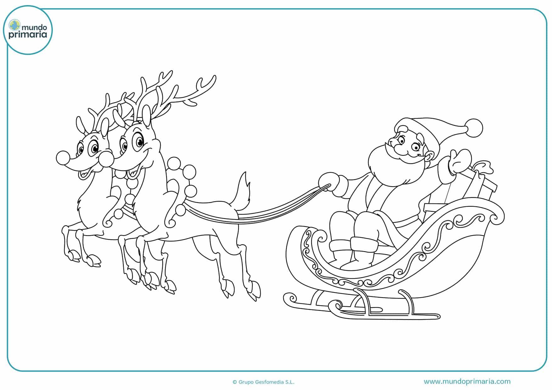 renos de navidad para colorear