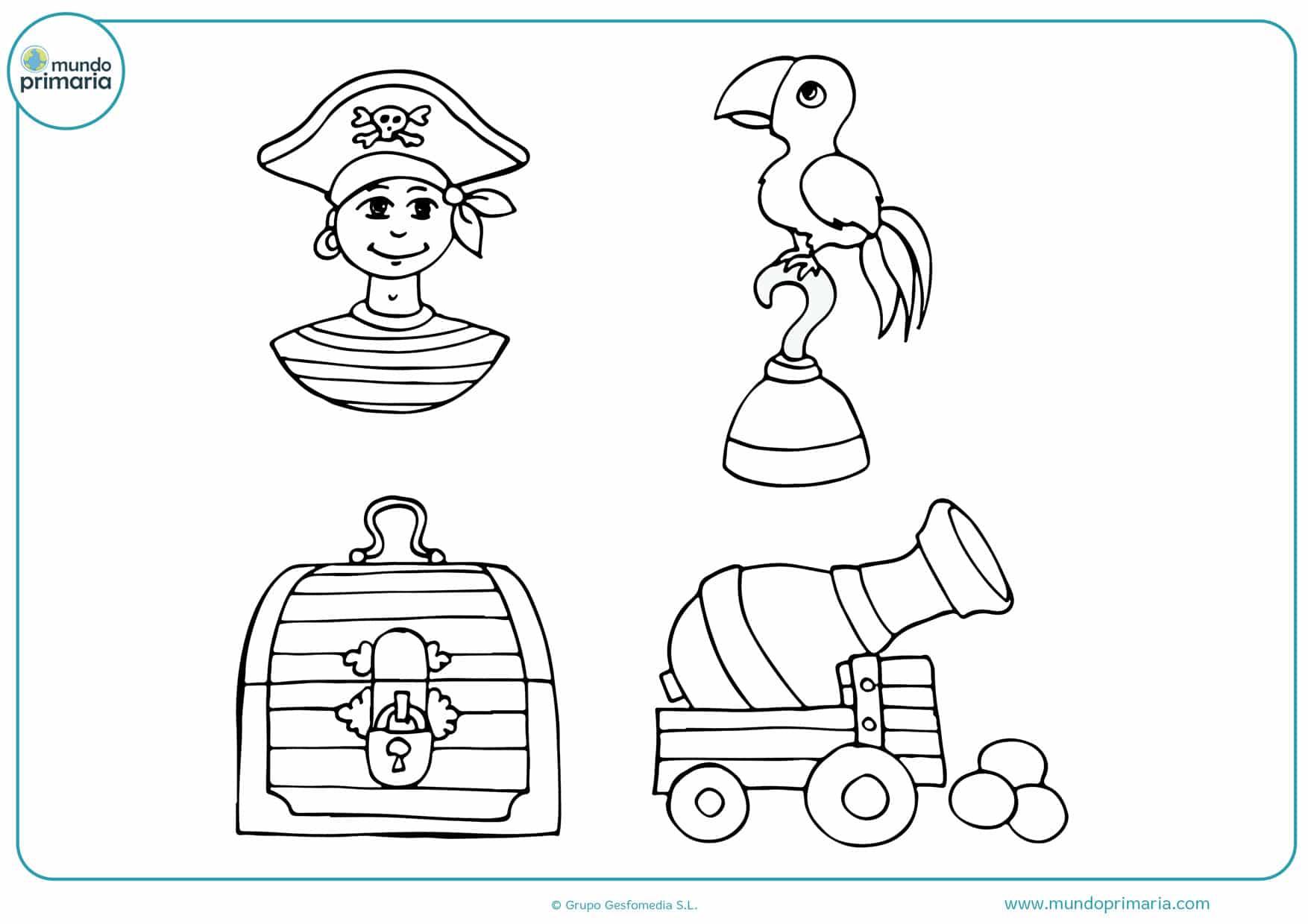 tesoros pirata para imprimir y colorear