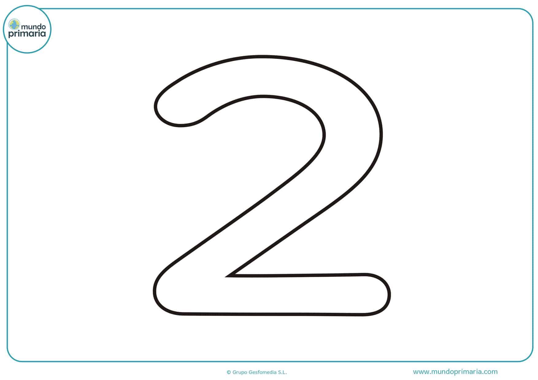 dibujo de numero 2 para colorear