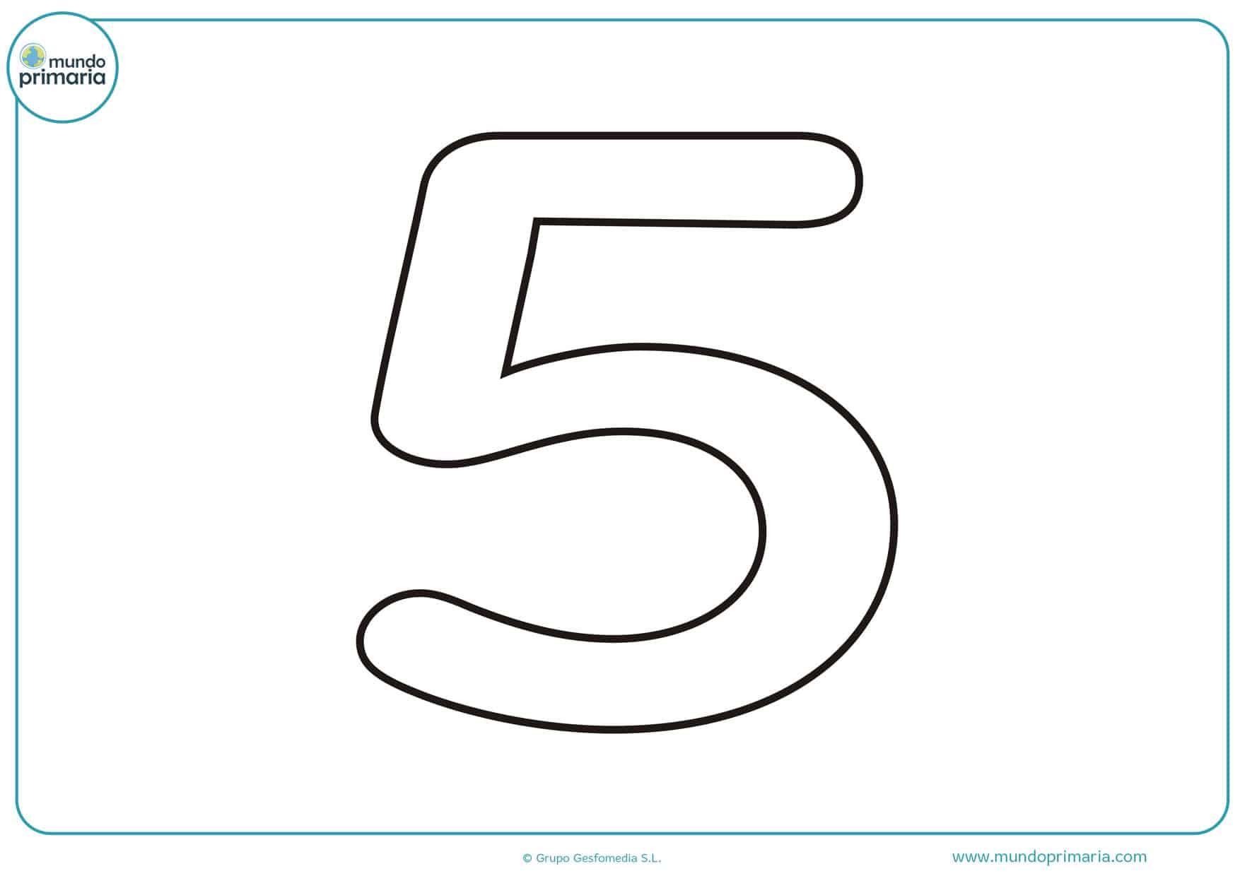 dibujo del numero 5 para colorear