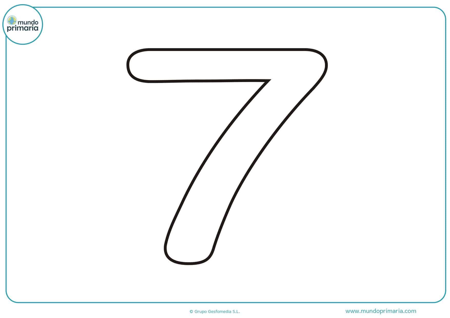dibujo de numero 7 para colorear
