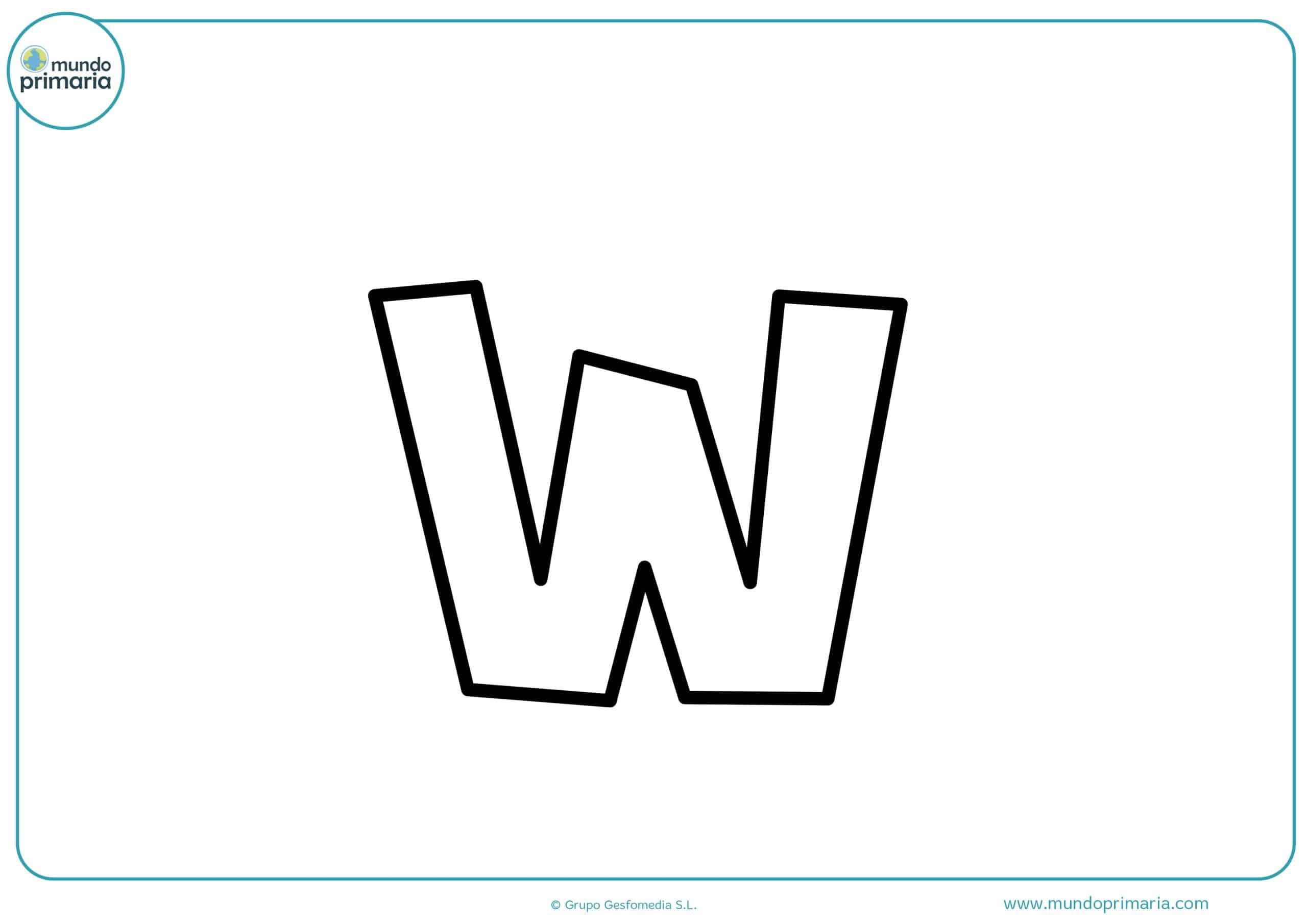 dibujos de letras w minúsculas para colorear