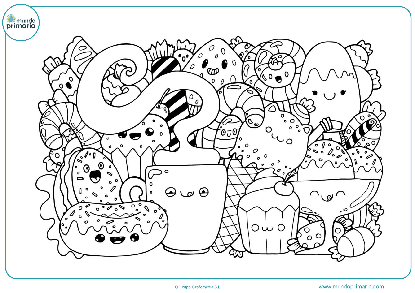 dibujos de comida kawaii para colorear