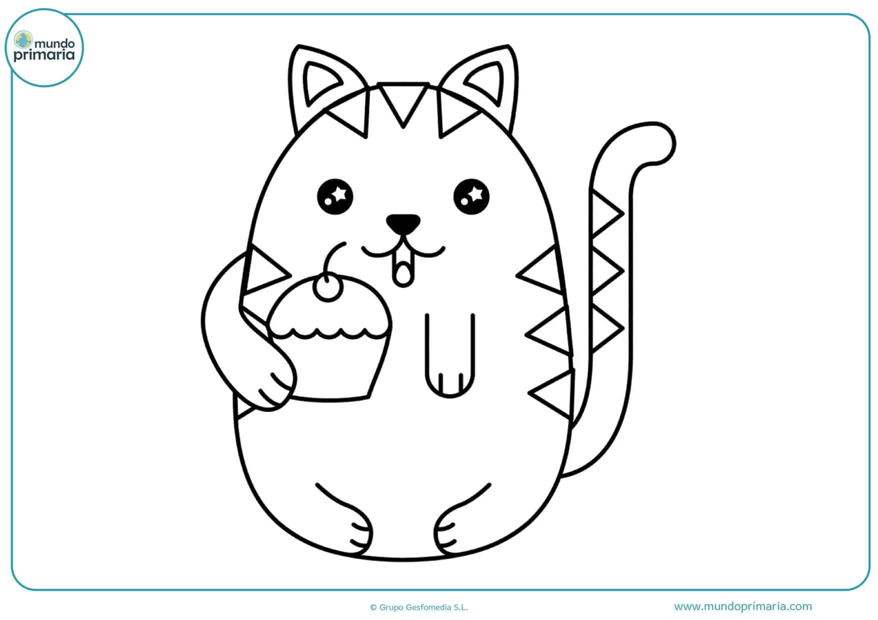 dibujos de gatos kawaii para colorear
