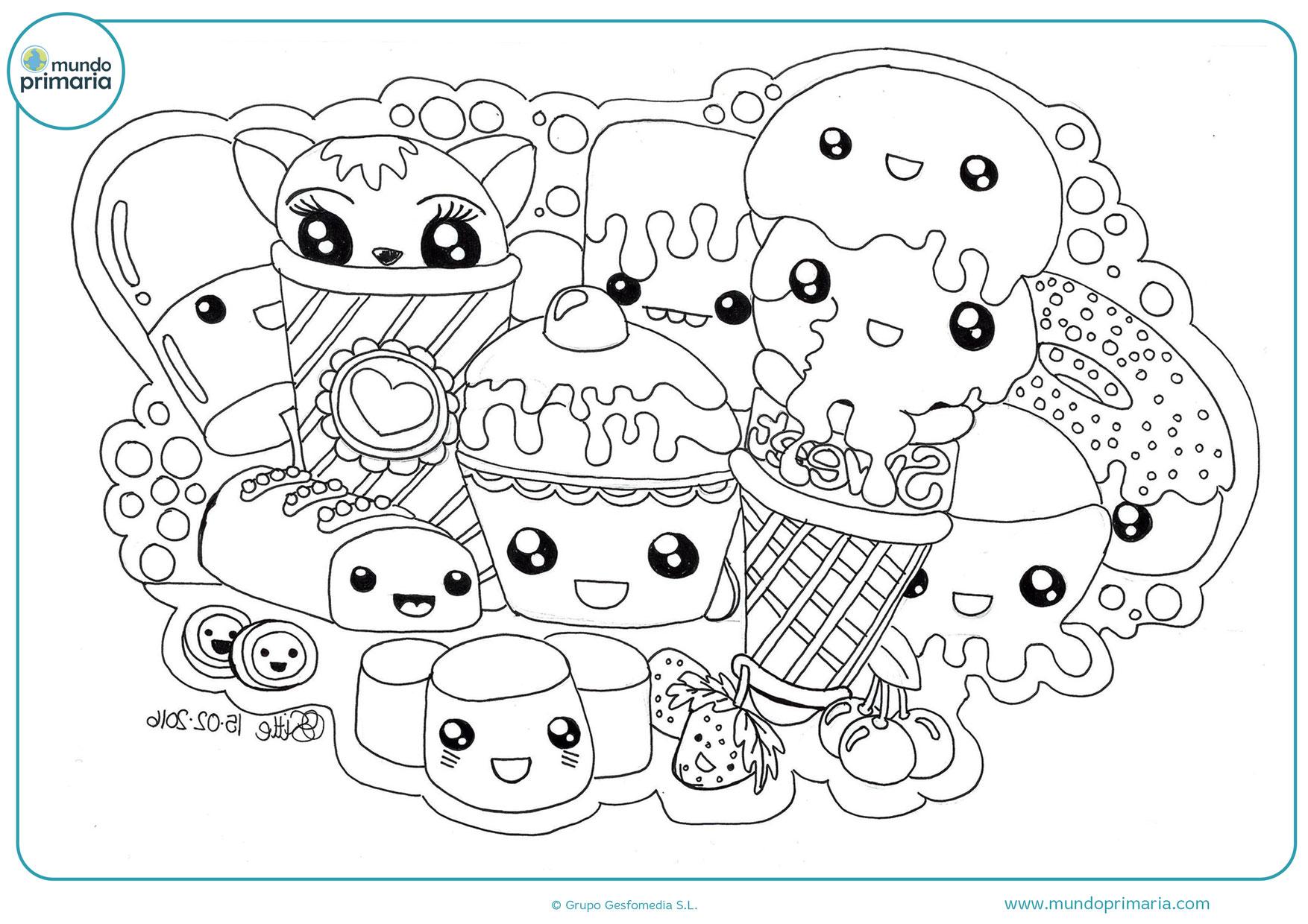 dibujos kawaii comida para colorear