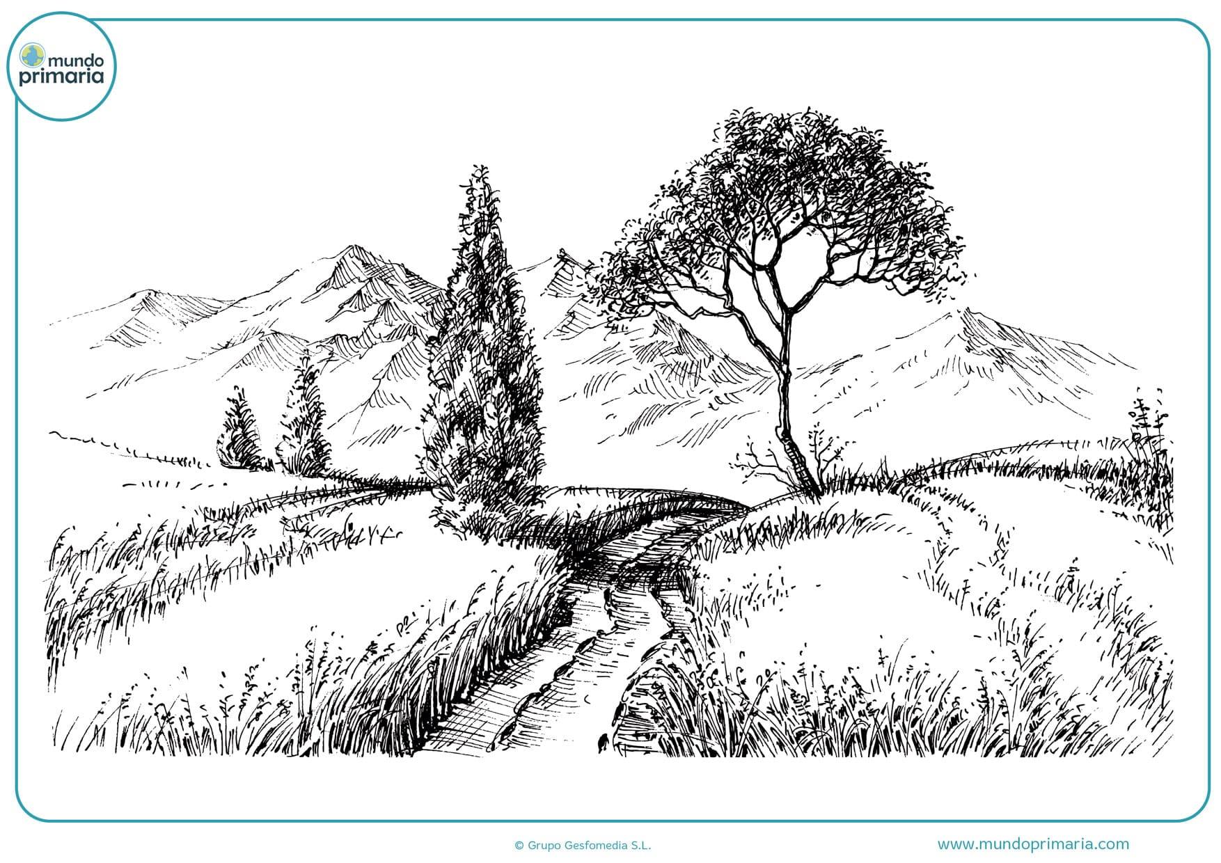 dibujos de paisajes a lápiz para colorear