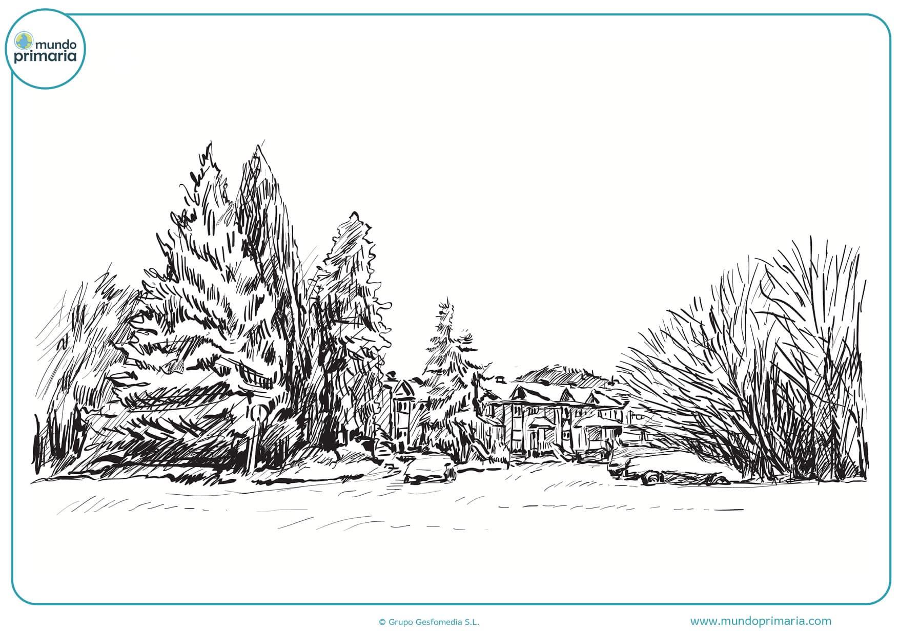 dibujos de paisajes a lápiz para pintar