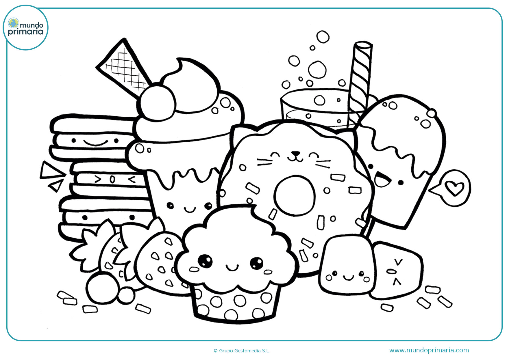 dibujos para colorear de comida kawaii