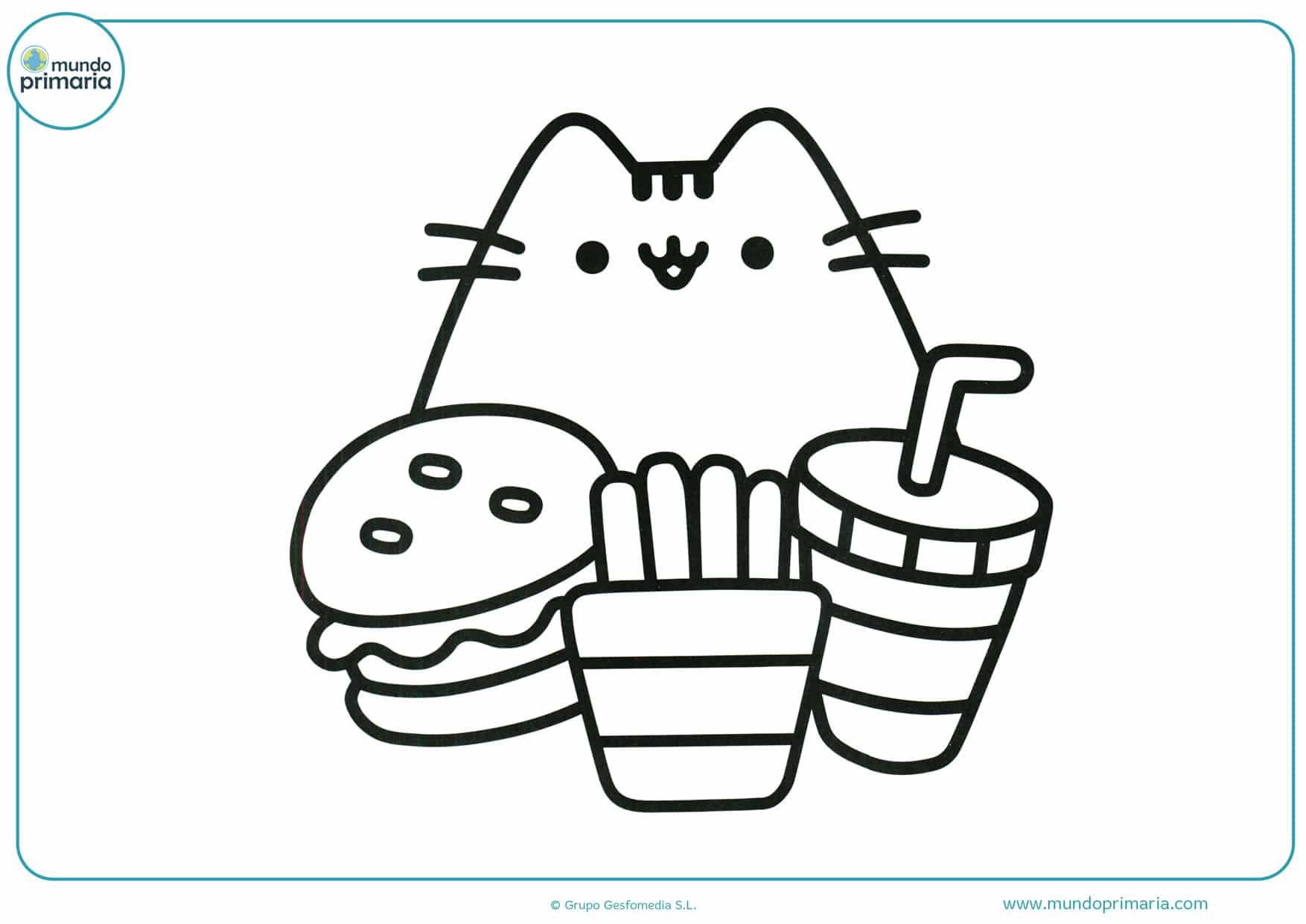 dibujos para colorear de gatos kawaii