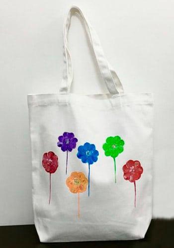 Bolsa tela pintada a mano