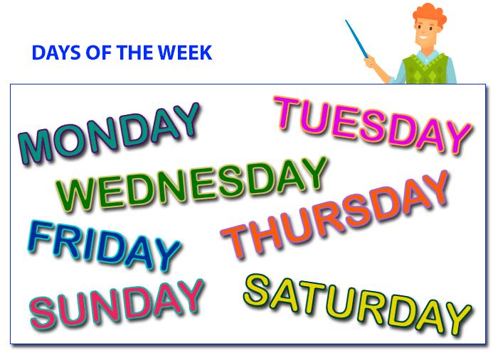 Los Días De La Semana En Inglés Days Of The Week
