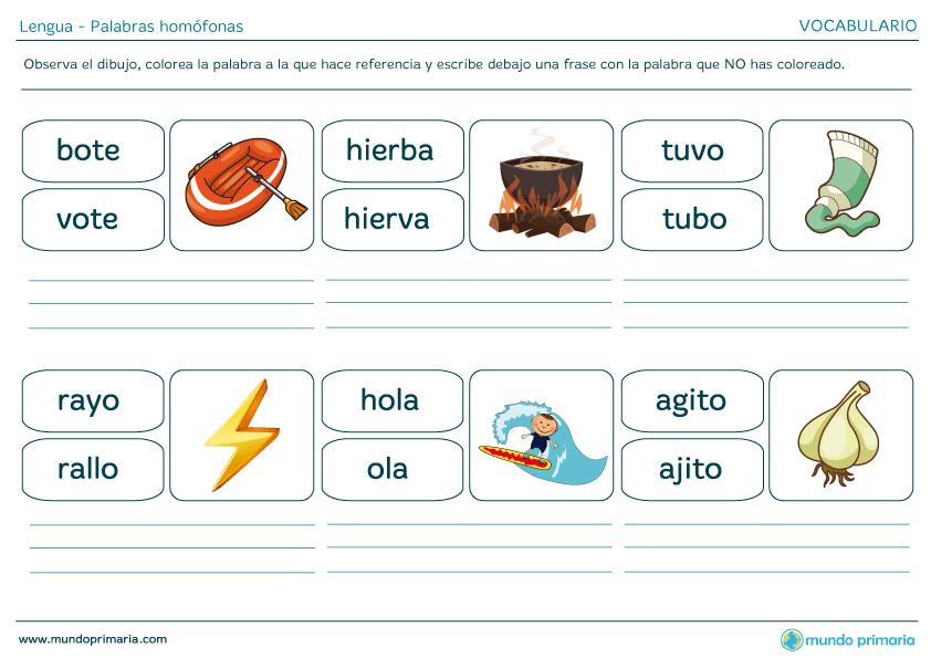 Ejemplos de palabras homófonas