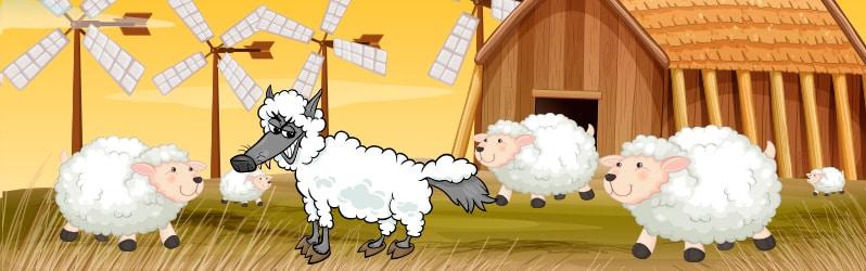 Fábula de animales El lobo con piel de oveja de Esopo