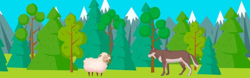 Fábula corta El lobo herido y la oveja de Esopo