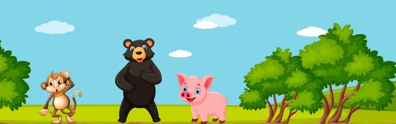 Fábula de Iriarte El oso la mona y el cerdo