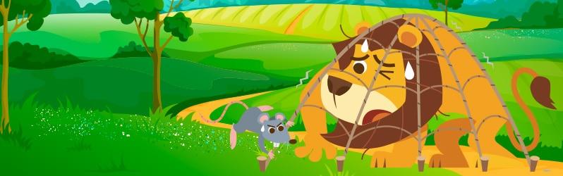 Fábula en inglés para niños The lion and the mouse