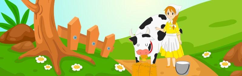 Fábula en inglés para niños The milkmaid