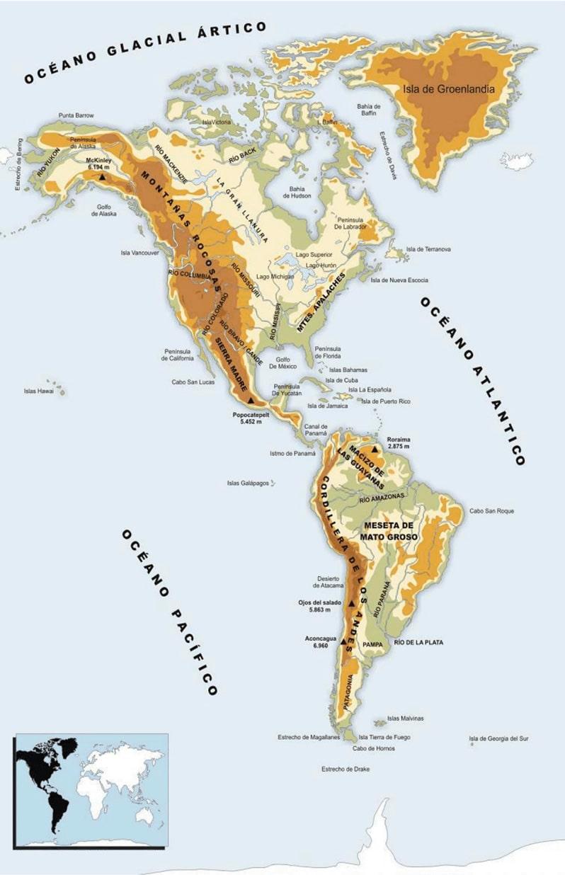 América mapa físico