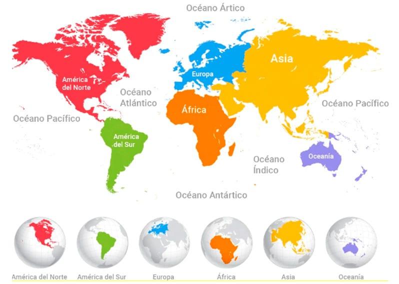 Los continentes en primaria