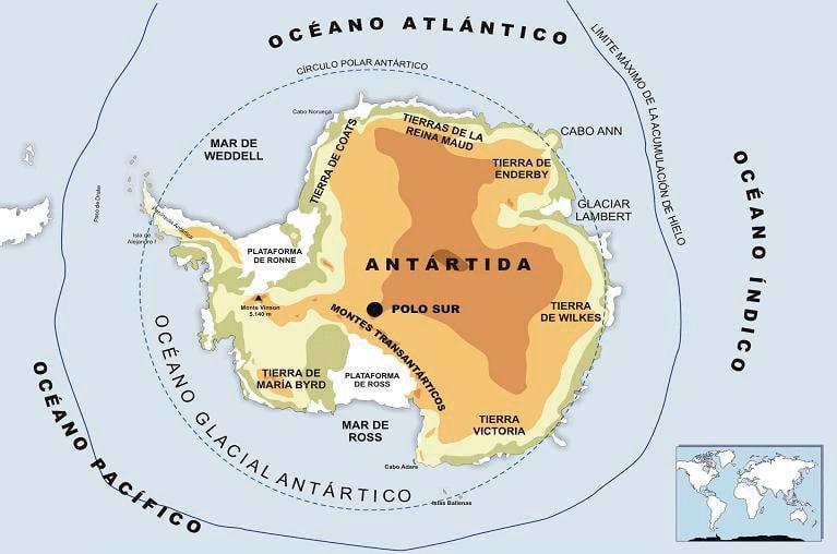 Mapa físico Antártica