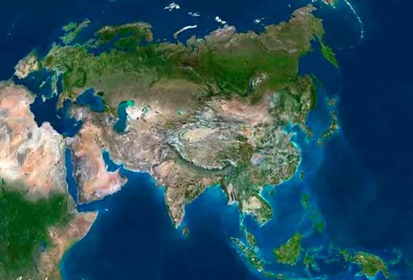Mapa físico Asia