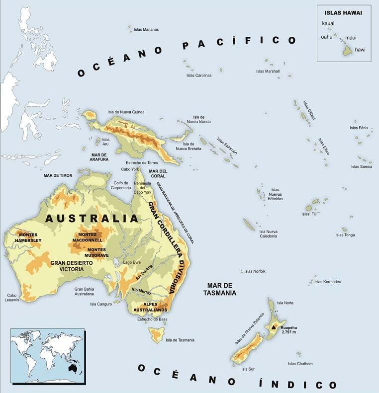 Mapa físico Oceanía