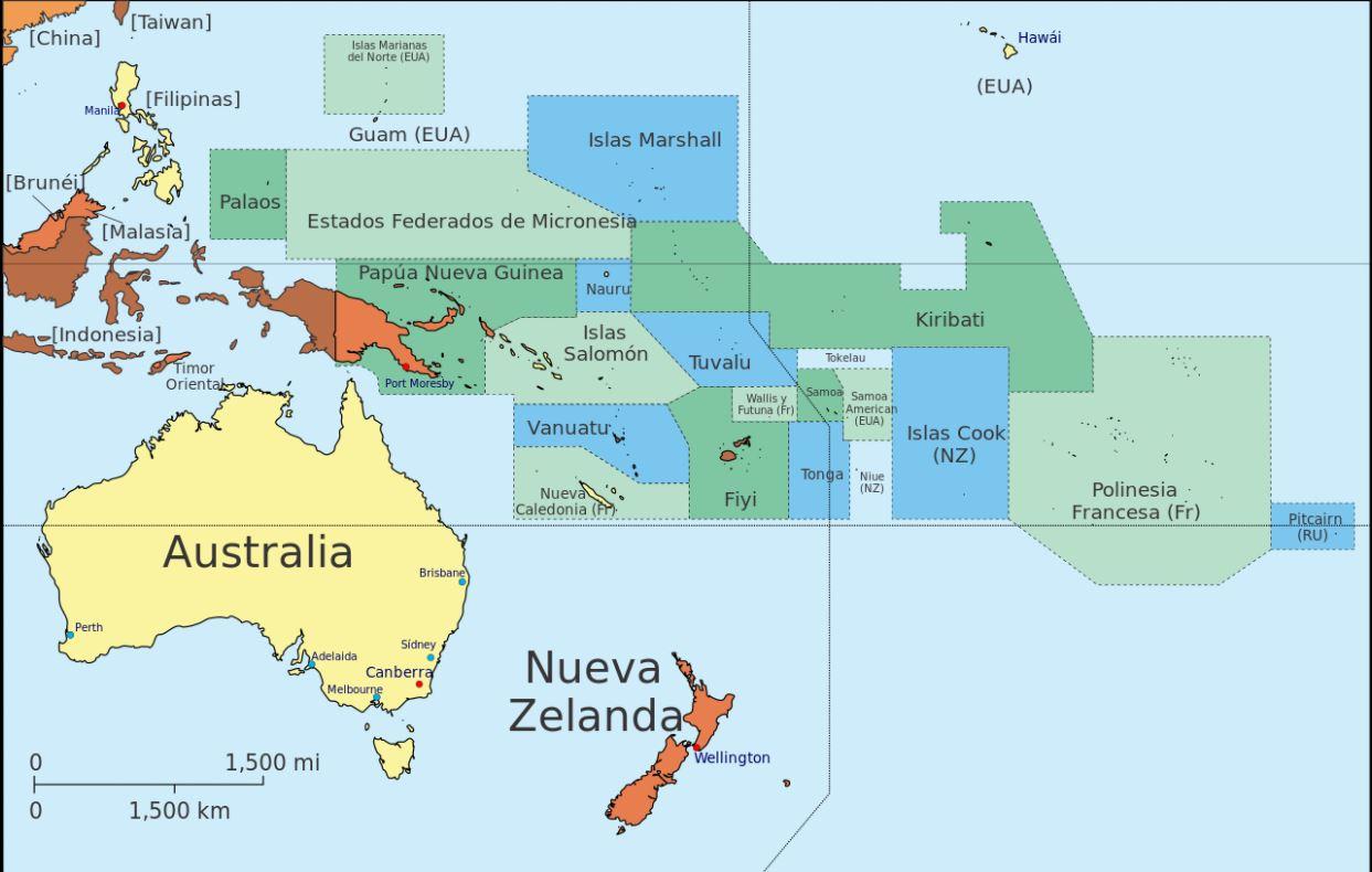 Mapa político Oceanía